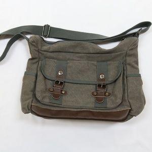 Brown Canvas Cross Body Messenger Bag Zipper Top